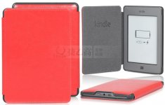 Black Red Leather Business Style Case Cover For Amazon Kindle Touch