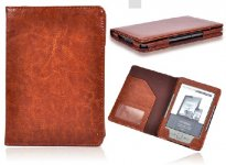 Brown PU Leather Book style Case Cover For Amazon Kindle 4